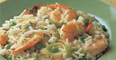 Risotto with Shrimp, Peas, and Fennel