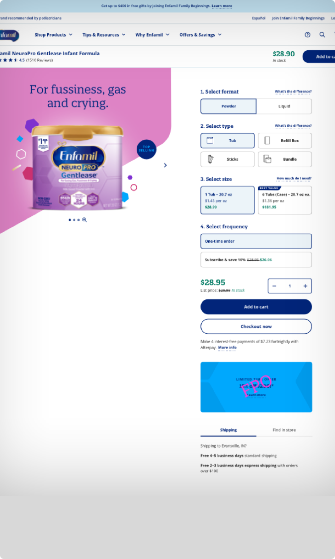 Enfamil Product Sales Page