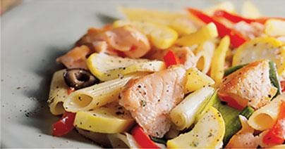 Penne with Salmon and Roasted Vegetables