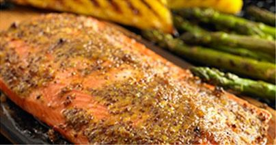Salmon with Grilled Pineapple and Grilled Asparagus
