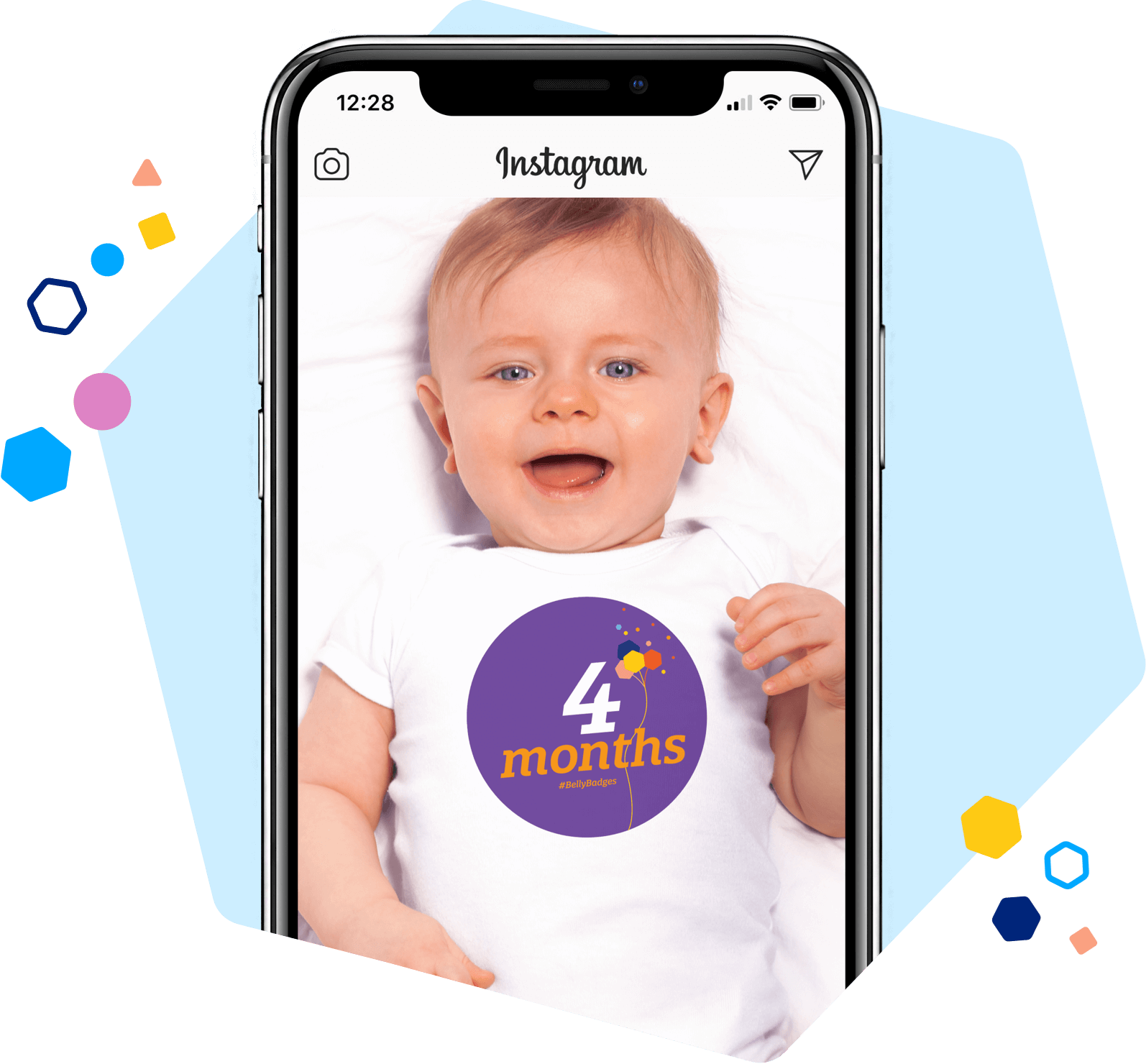 Photo of Baby Wearing 4 Month Badge T Shirt