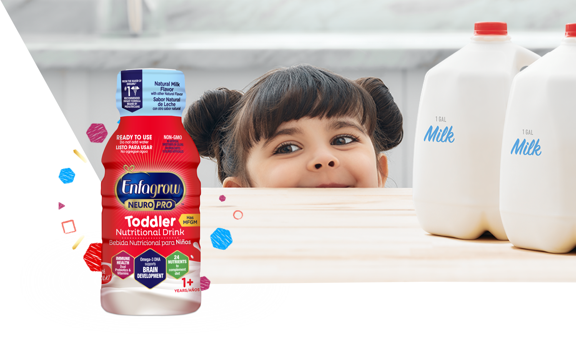 Toddler Excited for Enfagrow on Counter